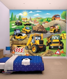 Walltastic JCB diggers XL Wallpaper Mural for Children's & Kids bedroom, photo Mural wall decal