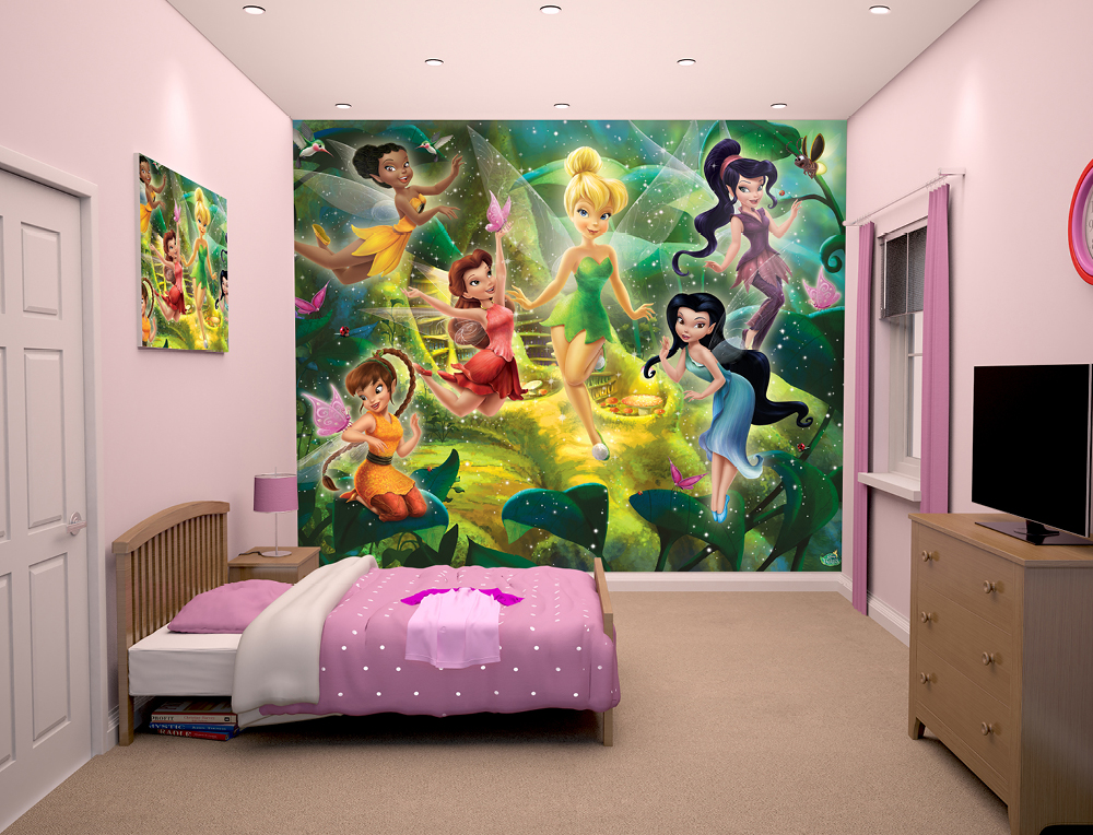 disney fairies bedroom wallpaper mural 10ft x 8ft walltastic
