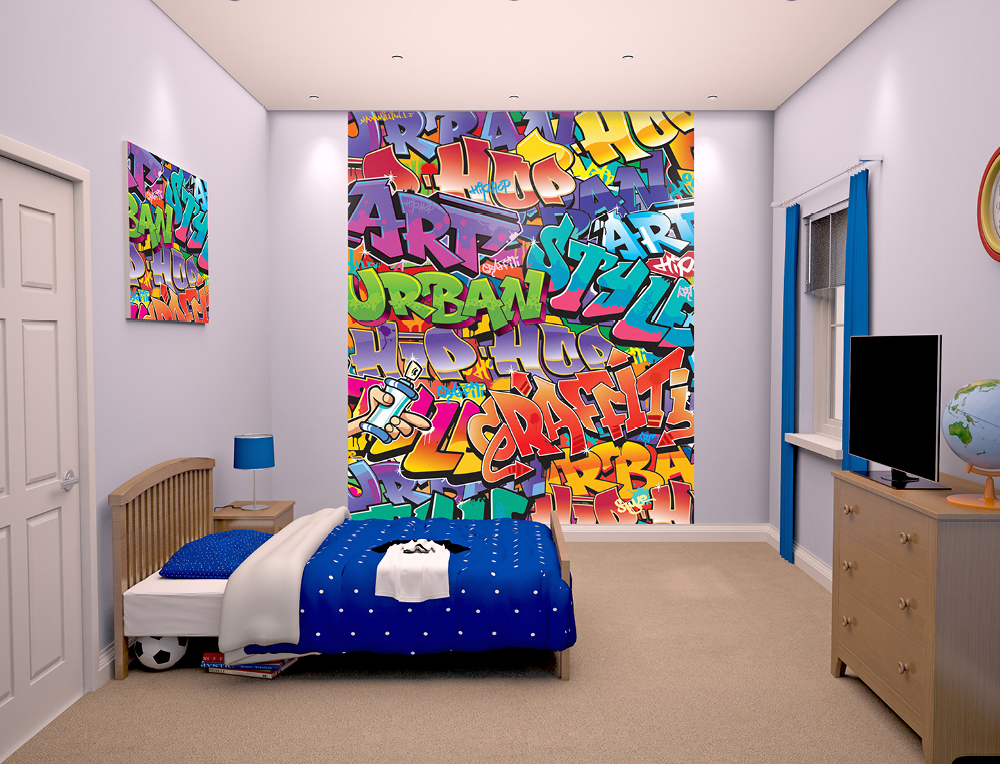 graffiti wallpaper mural for bedrooms 8ft x 6ft 6 walltastic