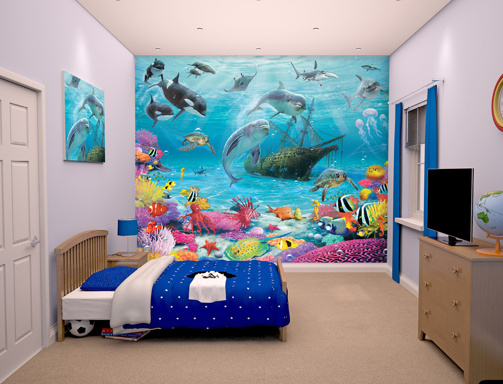 under sea wallpaper mural for kids bedrooms 8ftx10ft walltastic