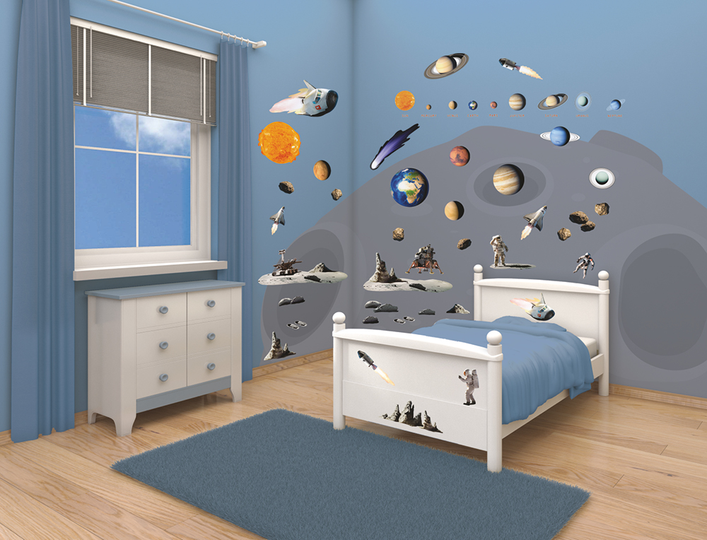 Space adventure bedroom decor kit walltastic - Decoration pour une chambre ...