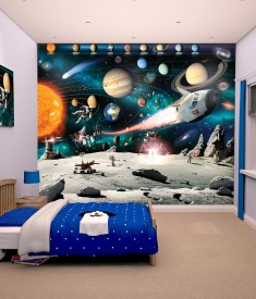 Walltastic Space Planets ans stars XL Wallpaper Mural for Children's & Kids bedroom, photo Mural wall decal