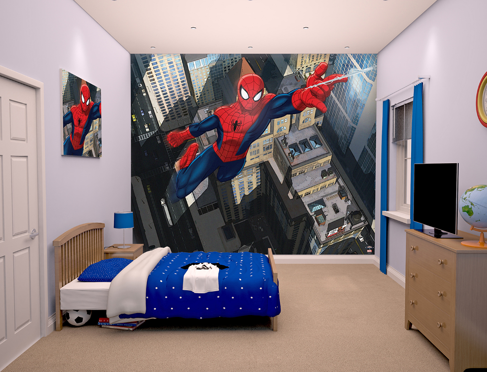Walltastic Spiderman Bedroom Scene March 2015 1000px