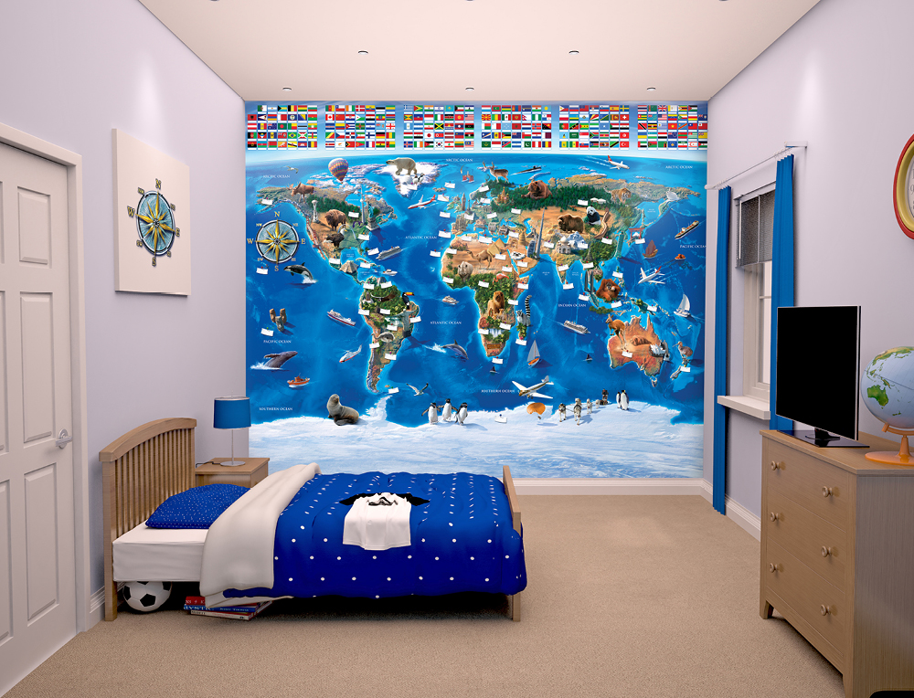 Map of the world bedroom mural 10ft x 8ft walltastic gumiabroncs Choice Image