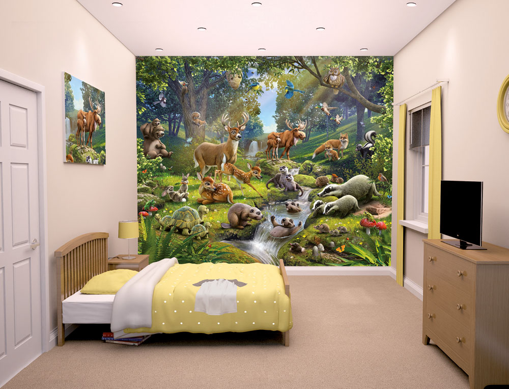 animals of the forest bedroom mural 10ft x 8ft walltastic. Black Bedroom Furniture Sets. Home Design Ideas