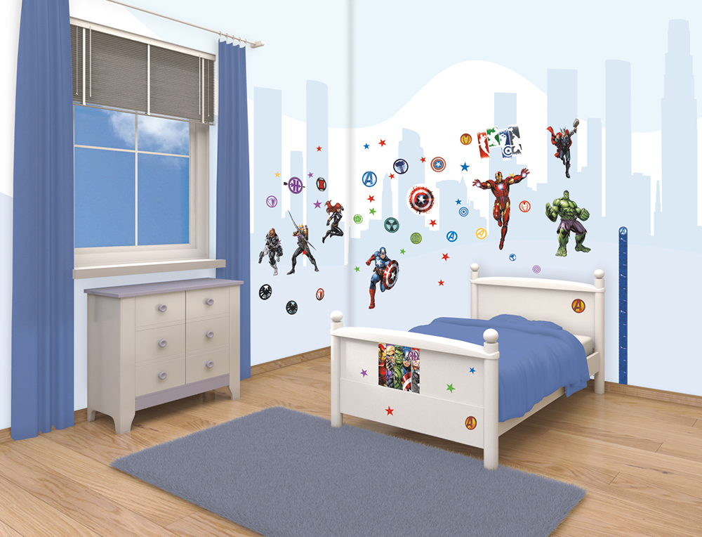 Marvel avengers room decor sticker kit for kids s bedroom wall decals