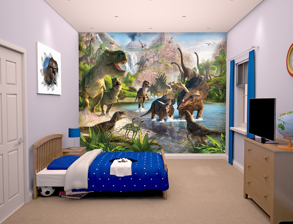 Walltastic Dinosaur Land March 2015 Bedroom Scene March 2015 1000px