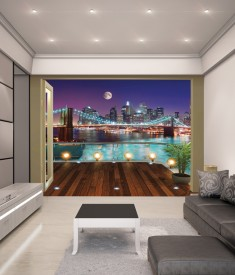 Brooklyn Bridge XL Wallpaper Mural for bedroom,office, mancave, sitting room photo Mural