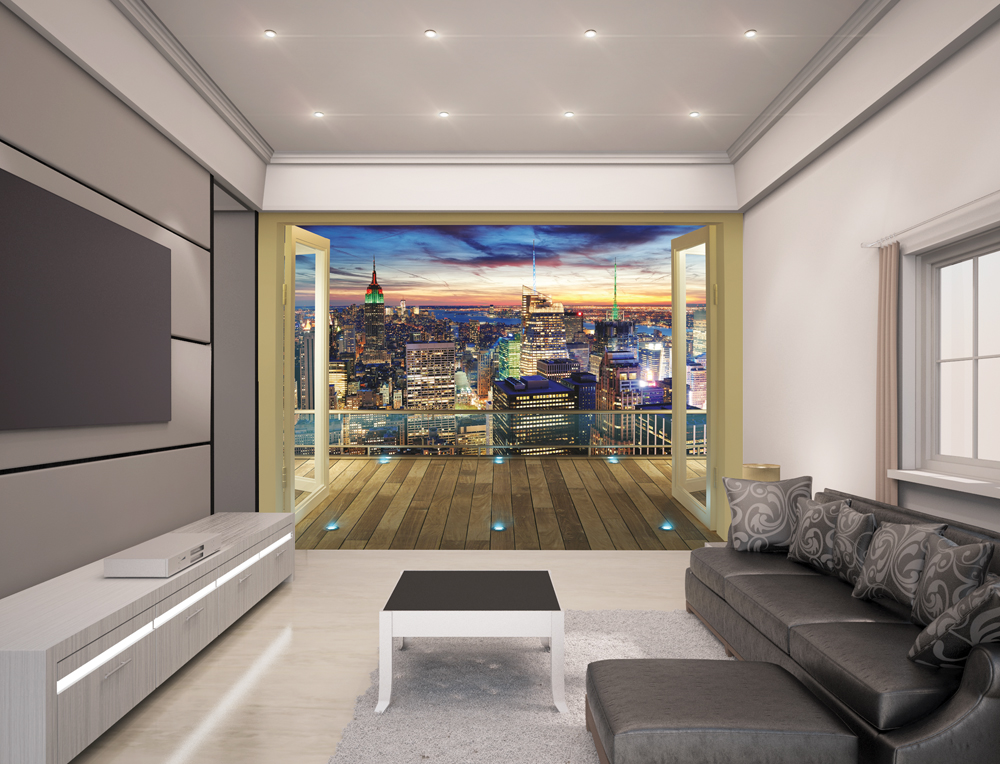 new york city skyline wall mural 10ft x 8ft walltastic. Black Bedroom Furniture Sets. Home Design Ideas