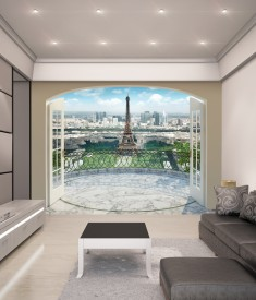 Paris Eiffel Tower XL Wallpaper Mural for bedroom,office, mancave, sitting room photo Mural