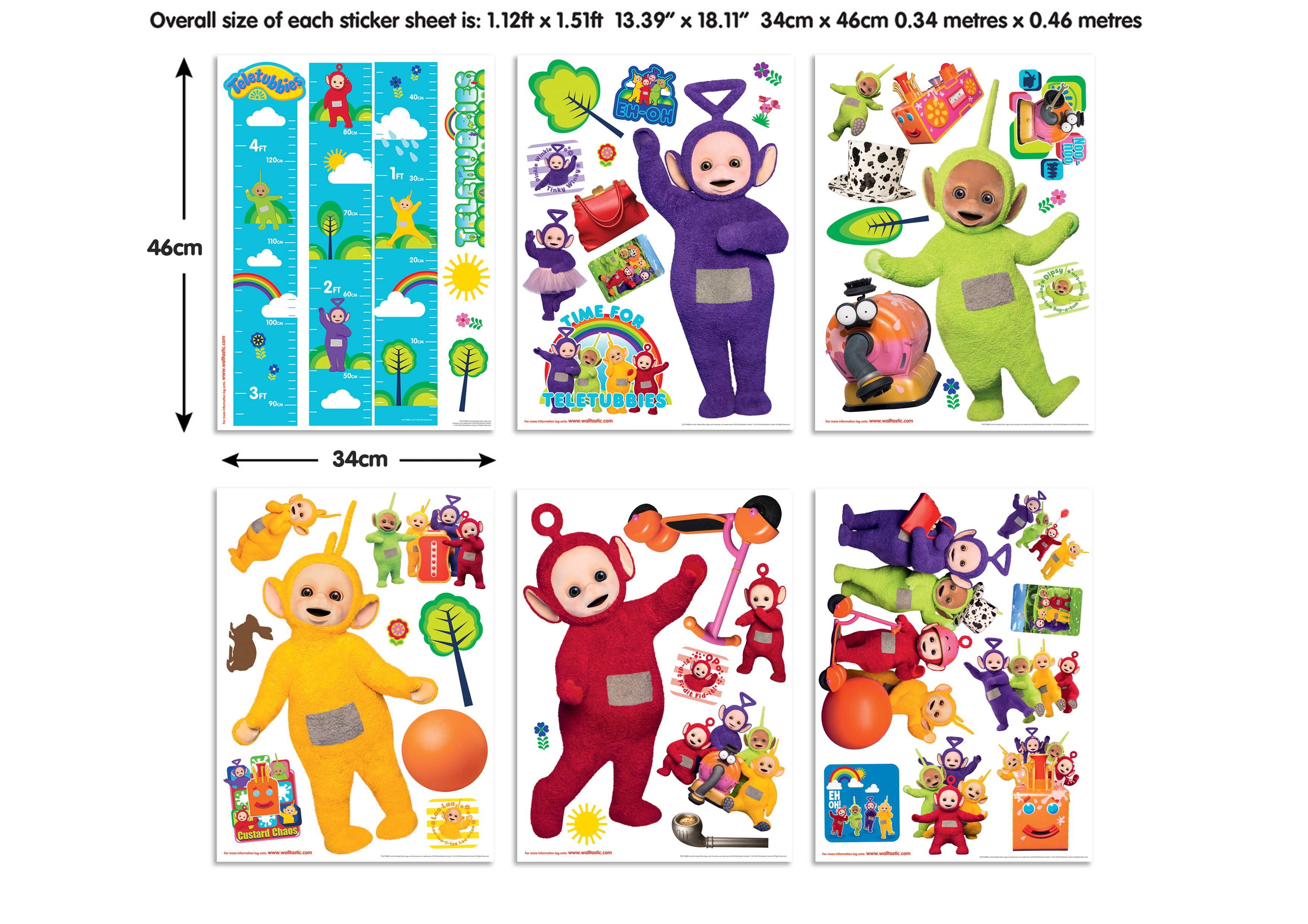 7 teletubbies  wall sticker decal photo paper a6