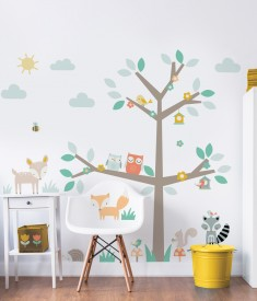 Woodland Tree & Friends Large Character Sticker Bedroom Scene Web - 44647
