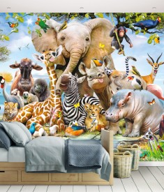 Jungle Safari Wall Mural Bedroom Scene 45255