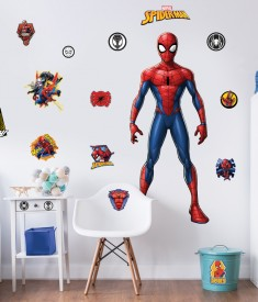 Spider-Man Large Character Stickers Bedroom Scene 45675