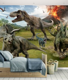 Jurrasic World Fallen Kingdom Wall Mural Bedroom Scene 45316