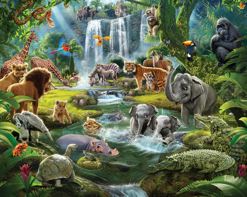 Children's Jungle Adventure Animals XL Wallpaper Mural ...