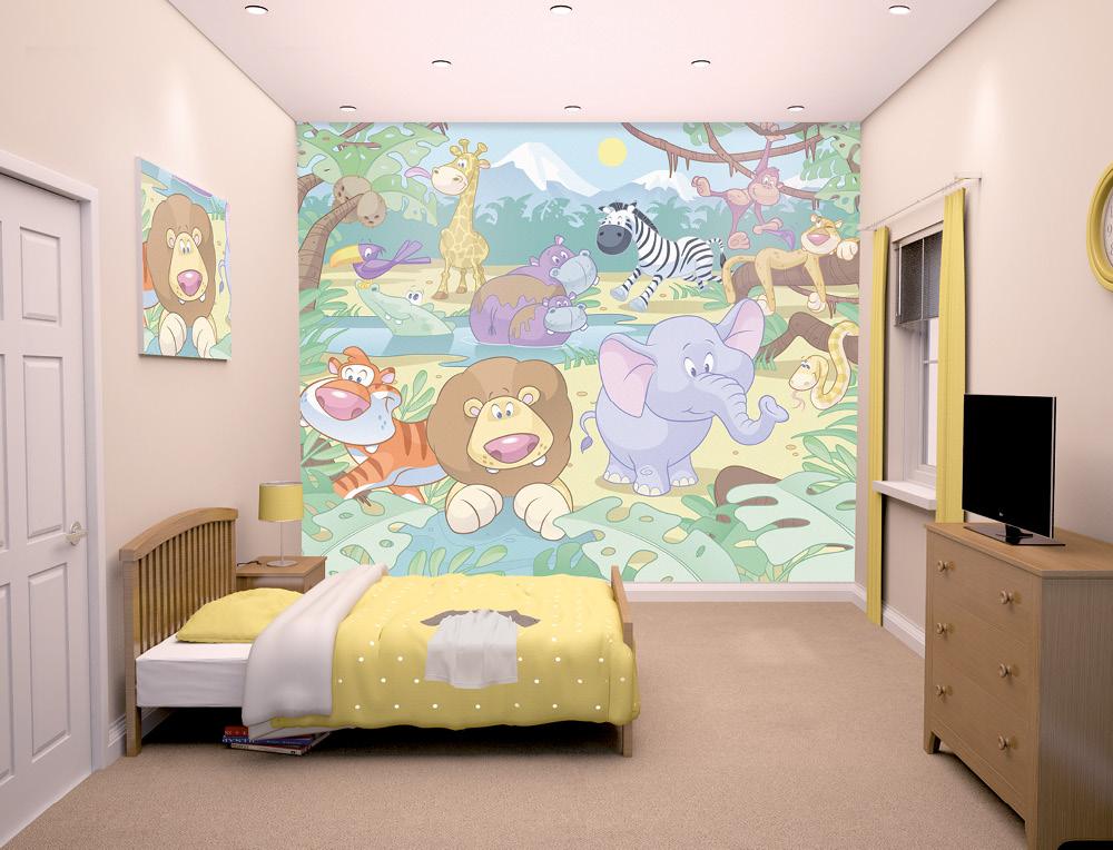 Baby Jungle Safari Bedroom Mural 10ft X 8ft Walltastic