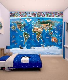 Walltastic World Map XL Wallpaper Mural for Children's & Kids bedroom, photo Mural wall decal