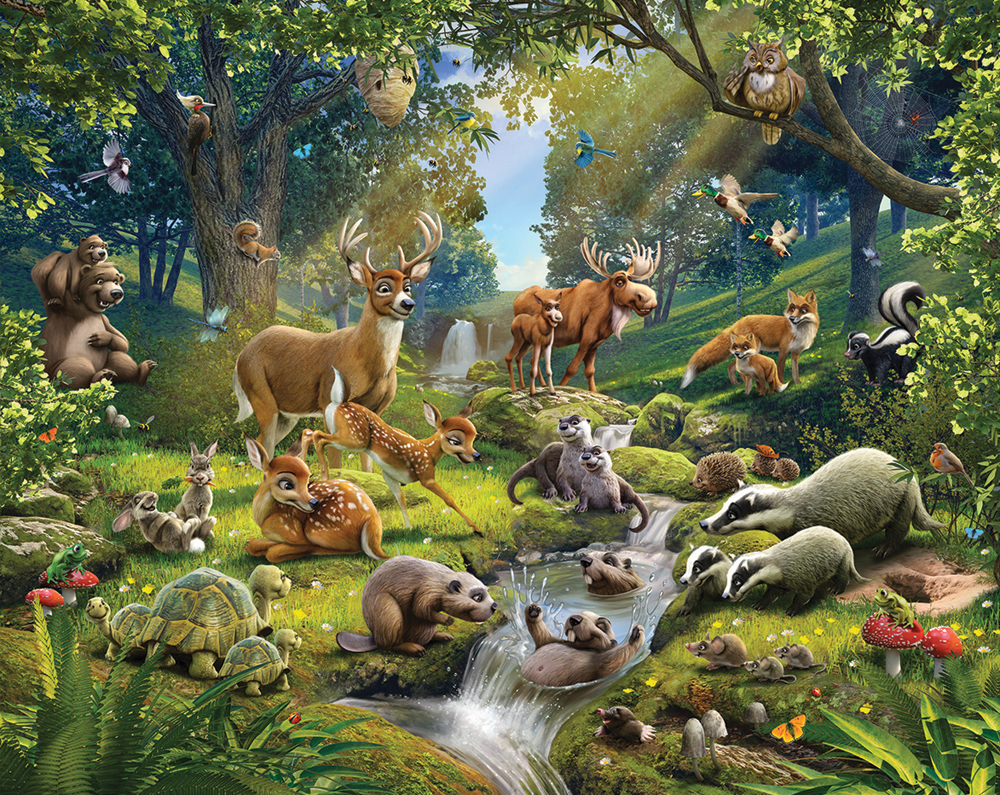 Animals Of The Forest Bedroom Mural 10ft X 8ft   Walltastic