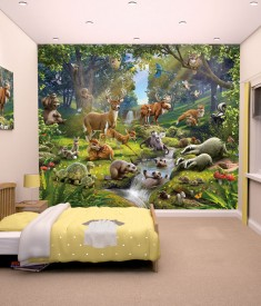 Animals In Forest XL Wallpaper Mural for Children's & Kids bedroom, photo Mural wall decal