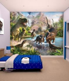 Dinosaur land bedroom mural