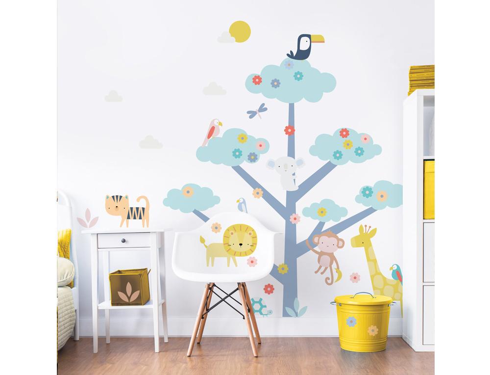 Jungle Animal Tree Childrens Wall Sticker WS-44926